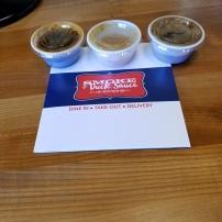 Tango soy sauce, House duck sauce, Maple my mustard! 3/4 house sauces